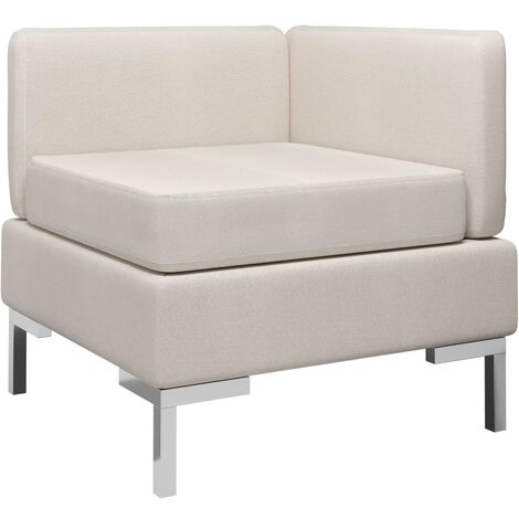 Sofá de esquina seccional con cojín tela color crema