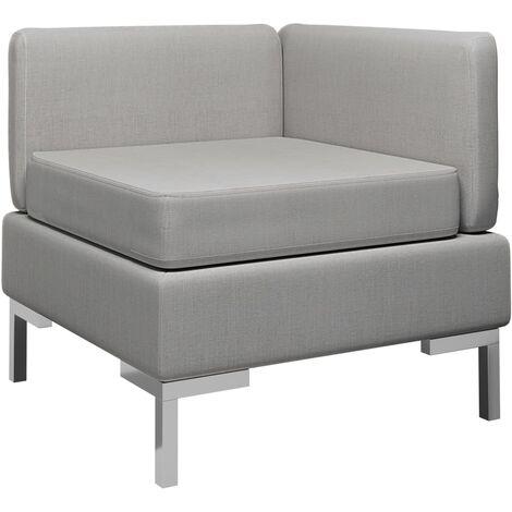Sofá de esquina seccional con cojín tela gris claro