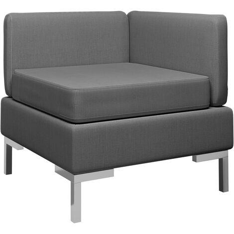 Sofá de esquina seccional con cojín tela gris oscuro