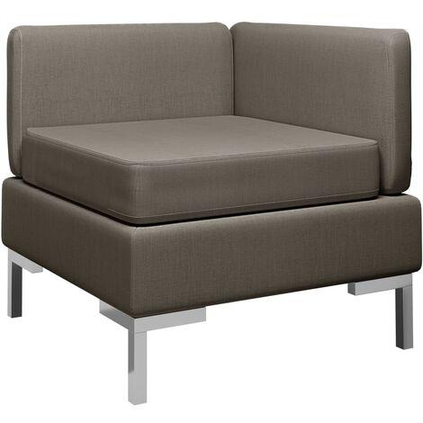 Sofá de esquina seccional con cojín tela gris taupe