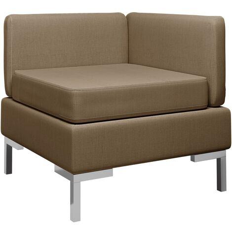 Sofá de esquina seccional con cojín tela marrón