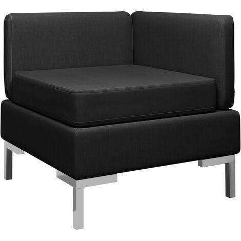 Sofá de esquina seccional con cojín tela negro