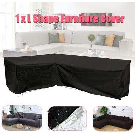 Sofá de exterior en forma de L Cubo de ratán Mantas para muebles de jardín Protector impermeable LAVADO