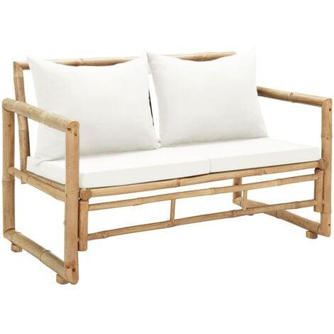 Sofá de jardín 2 plazas con cojines bambú