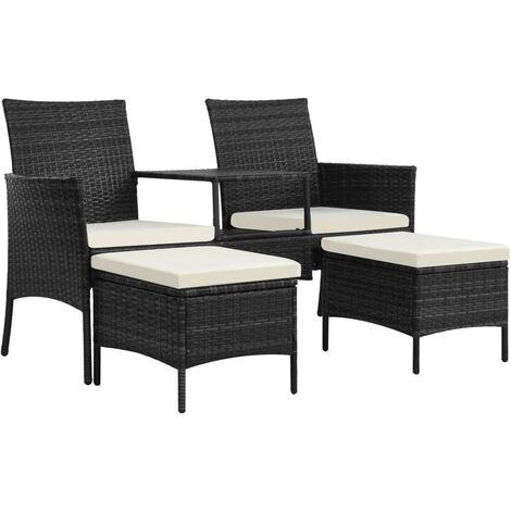 Sofá de jardín 2 plazas con mesita y taburetes poli ratán negro