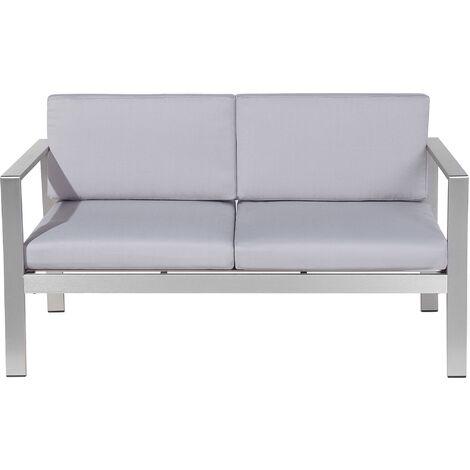 Sofá de jardín 2 plazas en aluminio gris claro SALERNO