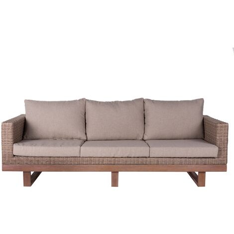 Sofá de jardín 3 plazas marrón rattán de 64x88x220 cm