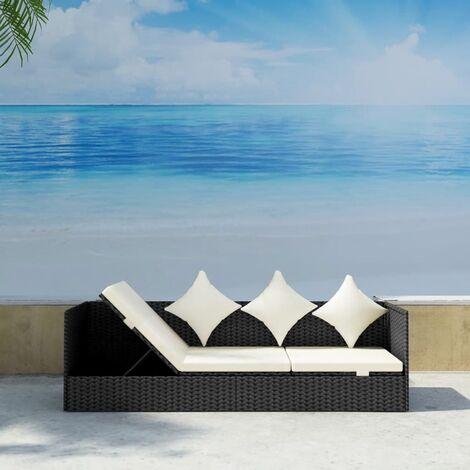 Sofá de jardín con cojines y almohadas ratán sintético negro
