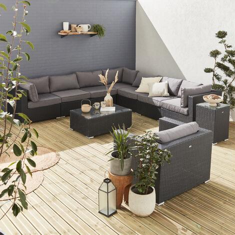 Sofa de jardin, conjunto sofa de exterior, Negro Gris, 10 plazas | Venezia