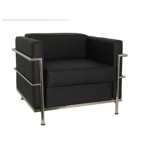 Sofa de Modulo/espera de una plaza Tapizado en piel color negro PIQUERAS Y CRESPO Modelo Nerpio