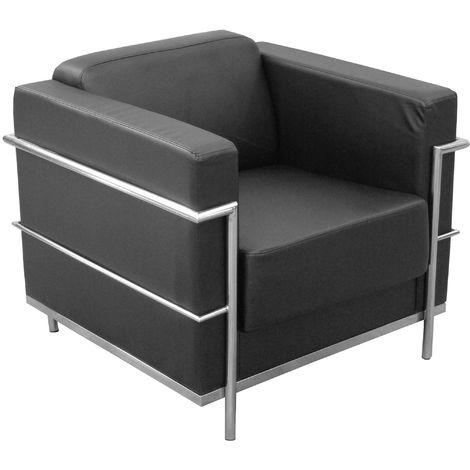 Sofa de Modulo/espera de una plaza - Tapizado en similpiel color negro PIQUERAS Y CRESPO Modelo Nerpio 2.0
