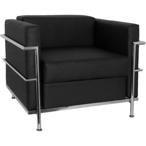 Sofa de Modulo/espera de una plaza - Tapizado en tejido BALI color negro PIQUERAS Y CRESPO Modelo Nerpio