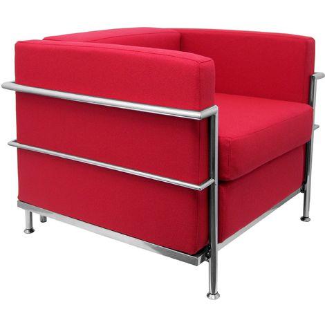 Sofa de Modulo/espera de una plaza - Tapizado en tejido BALI color rojo PIQUERAS Y CRESPO Modelo Nerpio
