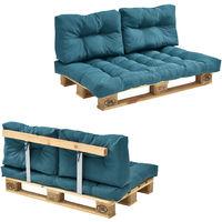 Sofá de palé - europalé de 2 plazas con cojines - (turquesa) Set completo, incluido respaldo