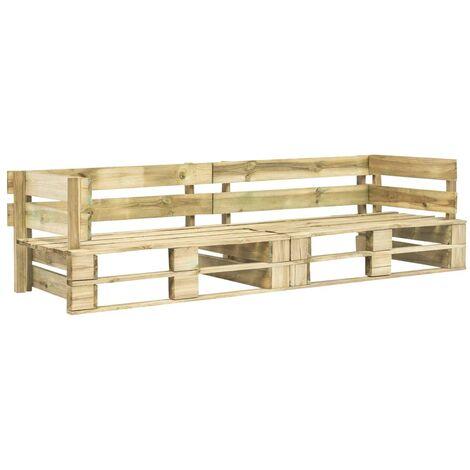 Sofá de palés para jardín 2 plazas verde madera FSC