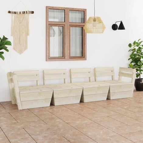 Sofa de pales para jardin 4 plazas madera de abeto impregnada