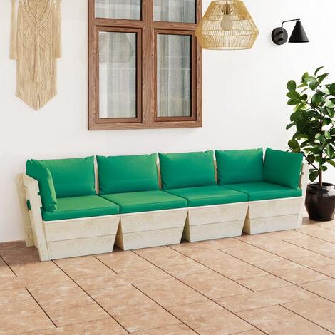Sofa de palets de jardin 4 plazas con cojines madera de abeto