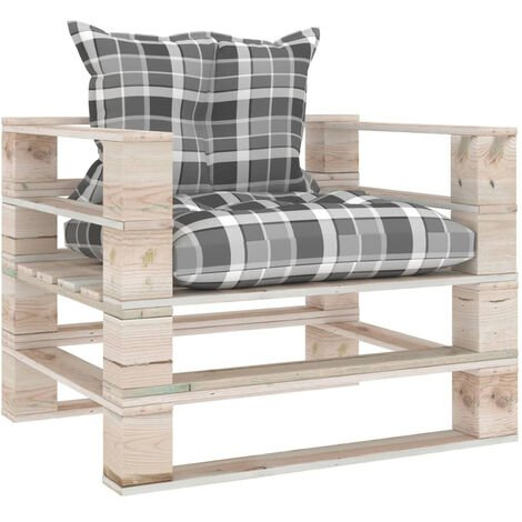 Sofa de palets de jardin madera de pino cojines a cuadros gris