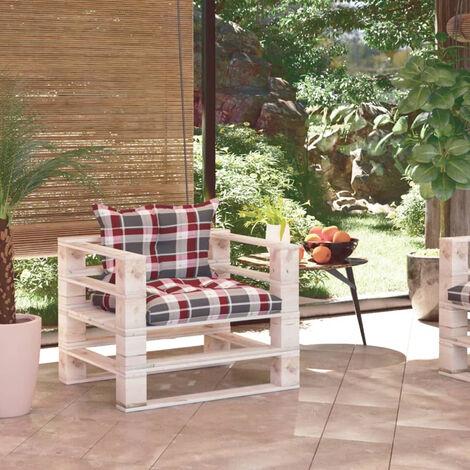 Sofa de palets de jardin madera de pino cojines a cuadros rojo