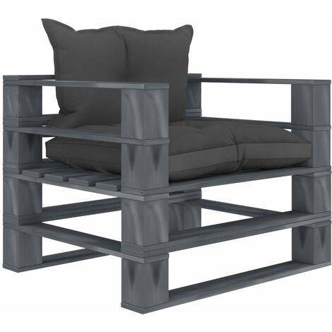 Sofá de palets pdejardín madera con cojines negros