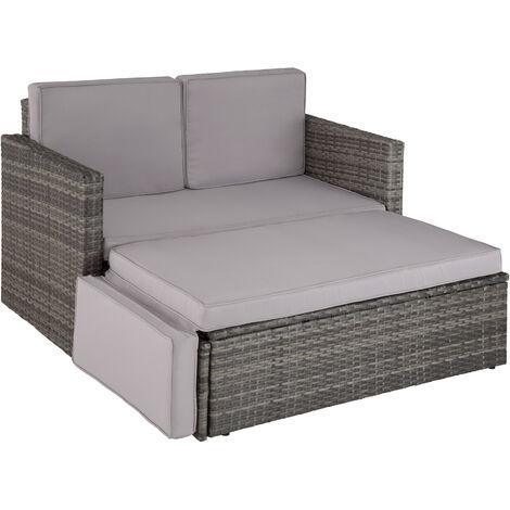 Sofá de ratán Corfú - mueble de exterior de poli ratán, sofá de ratán sintético con cojines y fundas, asiento de jardín con estructura de acero