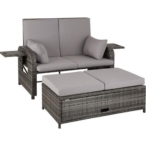 Sofá de ratán Creta - mueble de exterior de poli ratán, sofá de ratán sintético con cojines y fundas, asiento de jardín con bandejas plegables