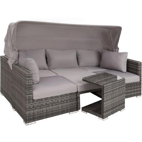Sofá de ratán San Marino - mueble de exterior de poli ratán, sofá de ratán sintético con cojines y fundas, asiento de jardín con estructura de aluminio