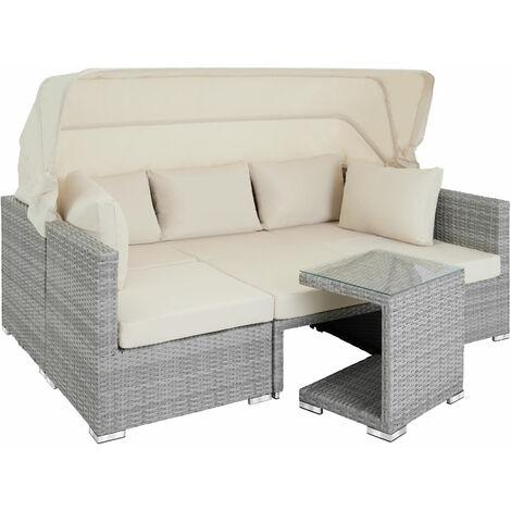 """main image of """"Sofá de ratán San Marino - mueble de exterior de poli ratán, sofá de ratán sintético con cojines y fundas, asiento de jardín con estructura de aluminio"""""""