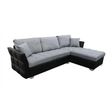 Sofa esquinero reversible Valentine - 4 plazas - Gris/Negro