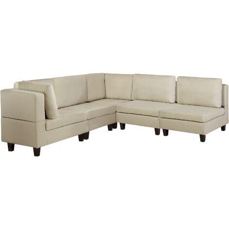 Sofá esquinero tapizado beige FEVIK