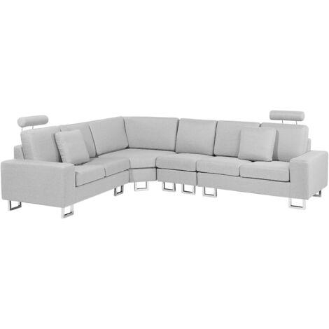 Sofá esquinero tapizado en poliéster gris claro STOCKHOLM