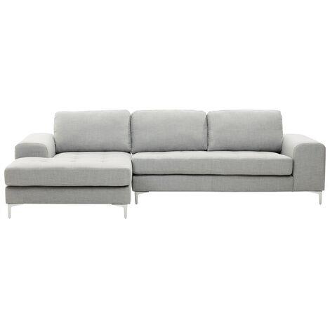 Sofá esquinero tapizado gris claro KIRUNA