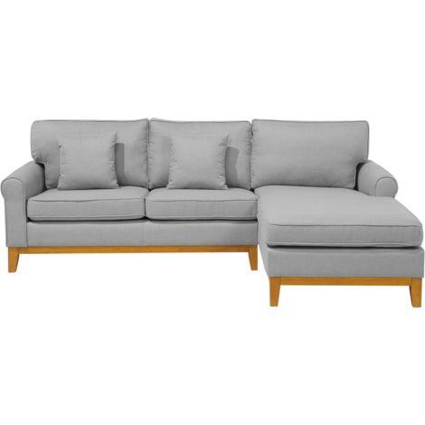 Sofá esquinero tapizado gris claro NEXO