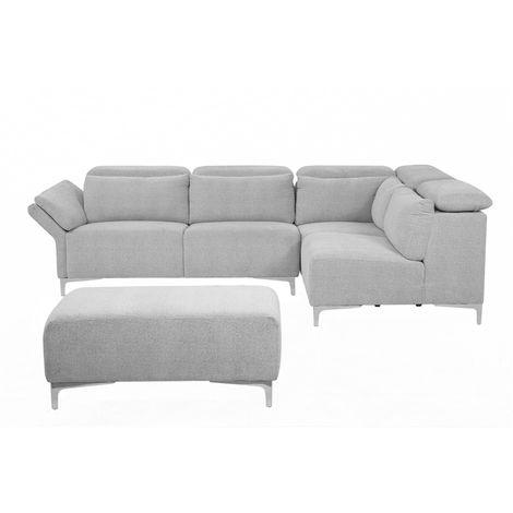 Sofá esquinero tapizado gris con reposapiés, versión izquierda FILLAN