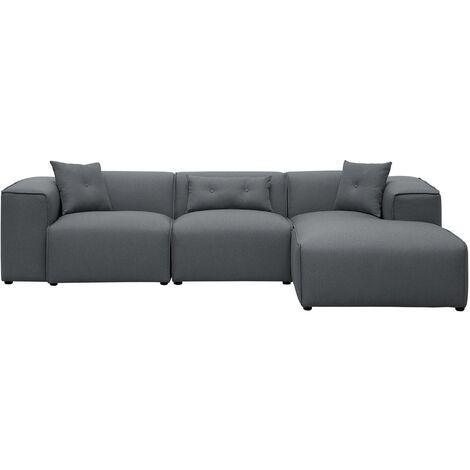 Sofá esquinero tapizado gris oscuro DOLVA