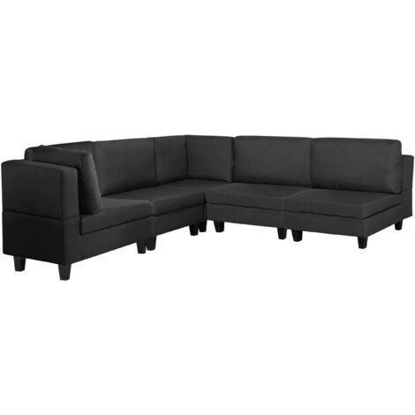 Sofá esquinero tapizado negro FEVIK