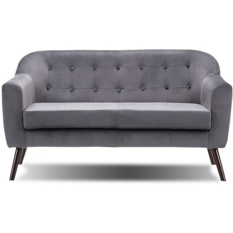 Sofa Fabric 2 Seater - New, Charcoal Grey, Wooden Legs (Grey)