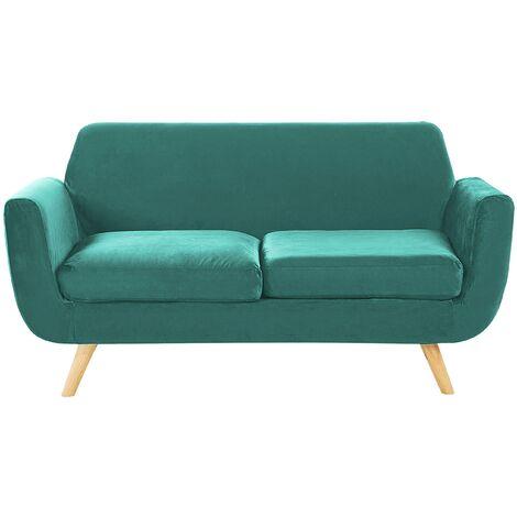 Sofa Green Retro Velvet Upholstery Seat Cushion Removable Cover 2-Seater Bernes