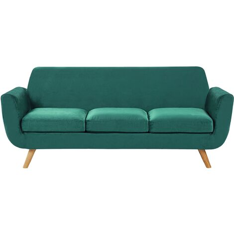 Sofa Green Retro Velvet Upholstery Seat Cushion Removable Cover 3-Seater Bernes