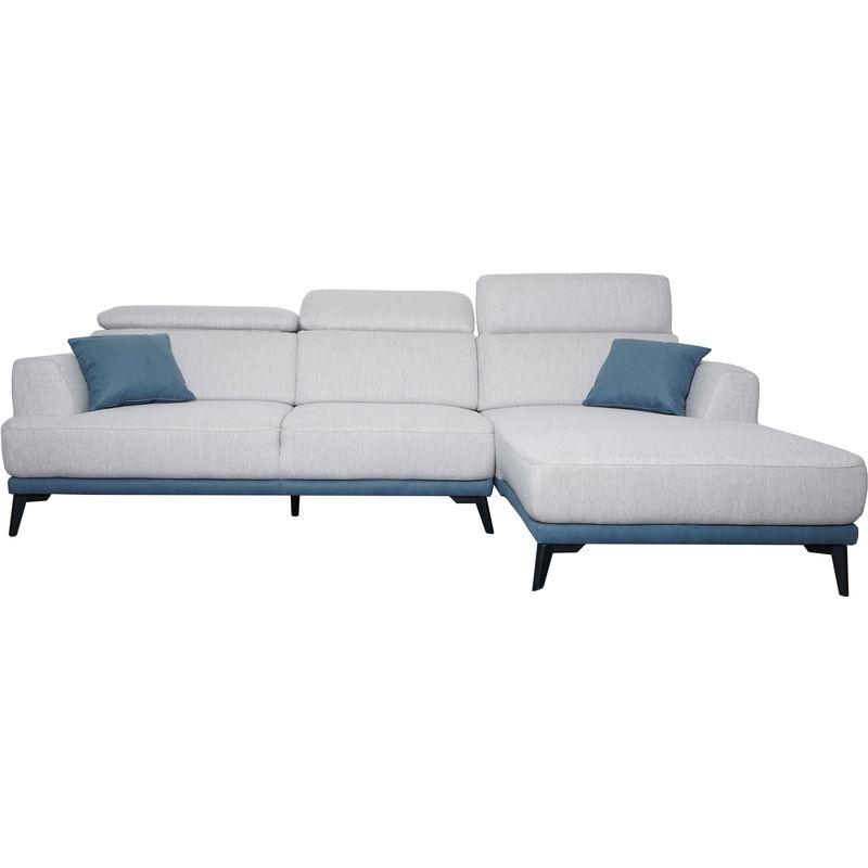 Sofa 520, Couch Ecksofa L-Form 3-Sitzer, Liegefläche Nosagfederung Taschenfederkern verstellbar ~ rechts, hellgrau - HHG