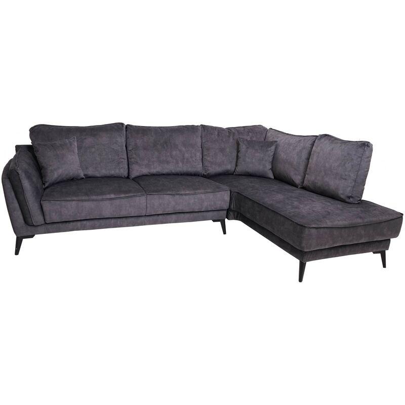Sofa HHG-524, Couch Ecksofa L-Form 3-Sitzer, Liegefläche Nosagfederung Taschenfederkern ~ rechts, vintage grau