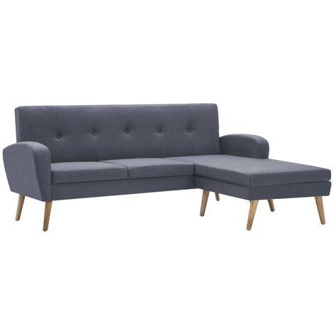 vidaXL Sofa in L-Form Stoffbezug 186x136x79cm Hellgrau