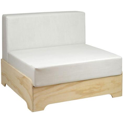 Sofá individual industrial Box con respaldo y cojines de polipiel color Blanco Roto - 80X80X64 cm - 35 cm - Blanco Roto Polipiel - Madera sin tratar