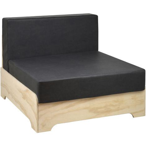 Sofá individual industrial Box con respaldo y cojines de polipiel color Gris Oscuro - 80X80X64 cm - 35 cm - Gris Oscuro Polipiel - Madera sin tratar