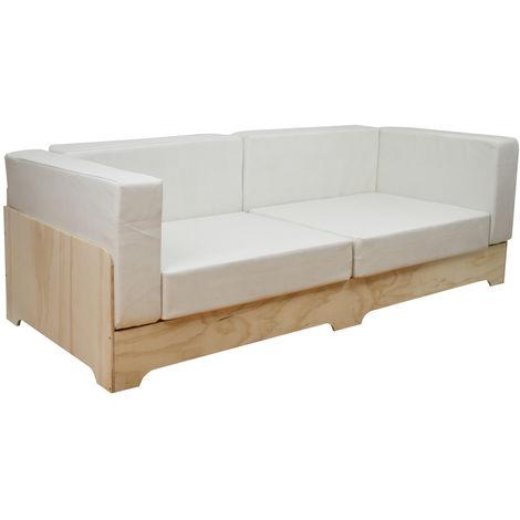 Sofá Industrial Box 80x190cm en contrachapado de pino y cojines polipiel Blanco Roto - 80X190X64 cm - Blanco Roto Polipiel - 35 cm - Si