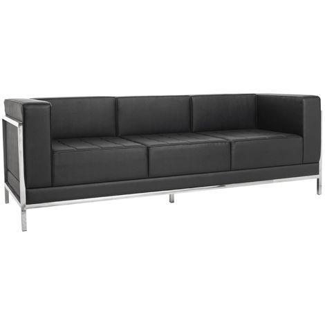 Sofá LC 5, 3 plazas, similpiel negra
