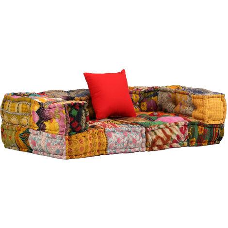 Sofá modular con reposabrazos de 2 plazas de tela patchwork