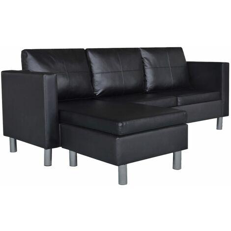Sofá modular de 3 plazas de cuero artificial negro