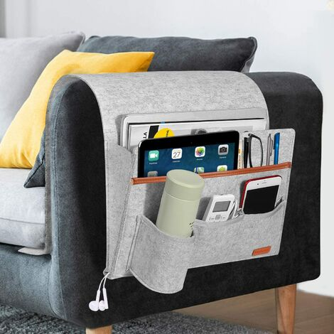 Sofa Organizer, 4 Pockets with Bottle Holder Armrest Hanging Storage Bag, for Bottle, Magazines, Remote Control, Phone, Tablets, and Books - Light Gray