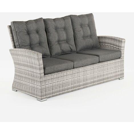 Sofá para jardín | 3 plazas | Color gris | Aluminio y rattán sintético | Tamaño:80x170x93 cm |Cojín antracita incluido | Portes gratis - Gris-plano